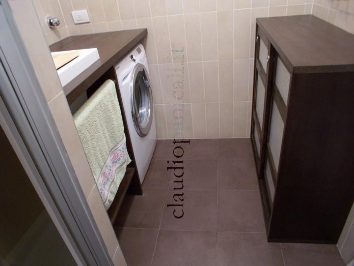 Mobile da bagno lavatrice asciugatrice con portabiancheria e scarpiera - Mobile bagno con portabiancheria ...