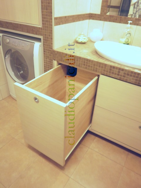 Mobile da bagno lavatrice asciugatrice con portabiancheria e scarpiera - Mobile bagno in muratura ...