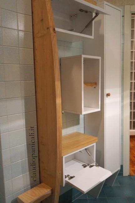mobile da bagno lavatrice asciugatrice con portabiancheria ...