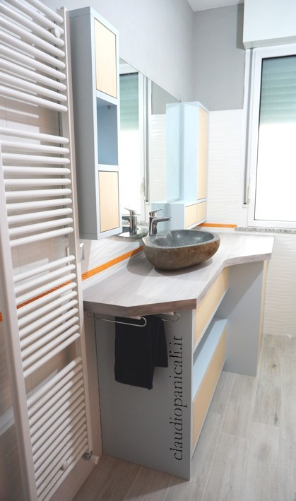 mobile da bagno lavatrice asciugatrice con portabiancheria e scarpiera